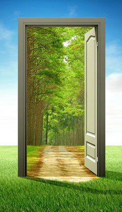 Door opening to green field